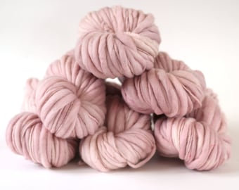 "Hand dyed yarn thick and Thin Yarn hand spun merino ""Powder Blush"", knitting yarn, dollmaking, weaving, crochet"