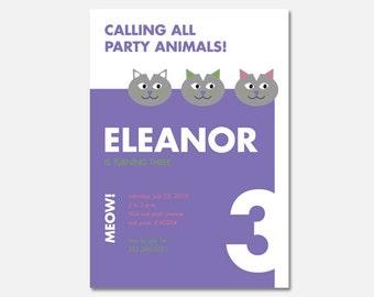 Cat Birthday Party Invitation, Cat Party, Printable Birthday Invitation, Custom Invitation, Digital Invitation, Flying Pinwheel