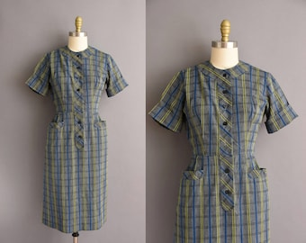 vintage 1950s blue and yellow cotton Day dress Size Medium 50s dress