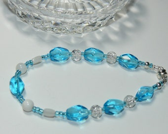 Aqua Blue and White Glass Bead Handmade Bracelet with Magnetic Closure