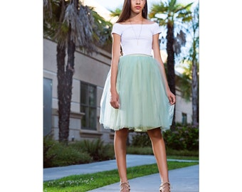 Carrie Bradshaw Tutu Tulle Skirt, Knee length/Midi in Sage/Olive Green –Inspired by the iconic Sex and the City character