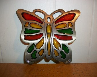 Vintage Faux Plastic Stained Glass Butterfly Metal Trivet Made in Taiwan Retro Kitsch Kitschy Kitchen Decor