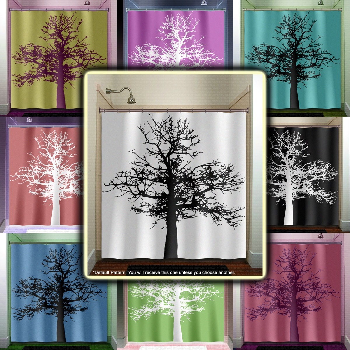 Mighty Oak Tree Shower Curtain Fabric Extra Long Window