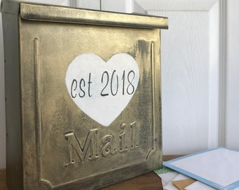 Vintage Gold Wedding Card Mailbox, Card box with slot