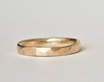 Gold Wedding Band - Hammered Gold Ring - Unique Textured Ring  - 9 Carat Yellow Gold Ring - Alternative Wedding - Rustic Wedding Ring