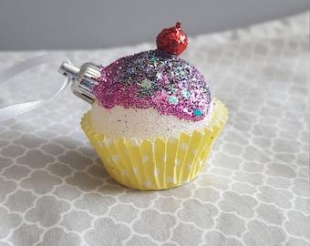 Cupcake Ornament - Pink Frosting w/ Sprinkles