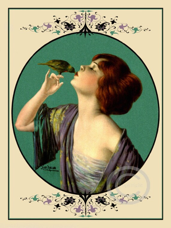 Art Deco Girl Kissing A Bird Print The Kiss Of Beauty