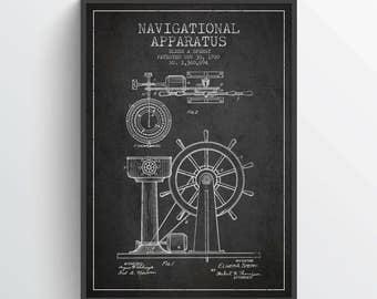 1895 Navigational Apparatus Patent, Nautical Poster, Nautical Print, Patent Art Print, Patent Print, Home Decor, Gift Idea, NA02P