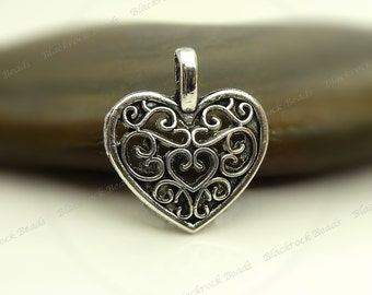 Bulk 24 Heart Shaped Charms 16x15mm Antique Silver Tone - Filigree Heart  - BC5