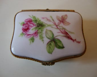 Limoges Trinket Box Vintage French Pill Box Stash Box Roses