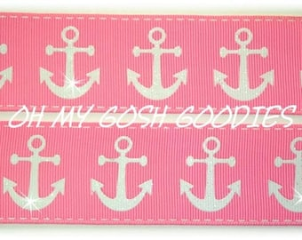 "GLITTER  ANCHORS PINK Grosgrain Ribbon 7/8"" & 1.5"" - 5 Yards - Oh My Gosh Goodies Ribbon"