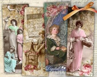 Romantic Bookmarks - set of 6 bookmarks - digital collage - printable JPG file