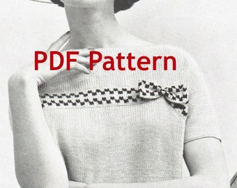 Vintage Checkered Knit Sweater Slipover Pattern 1960s Digital Download