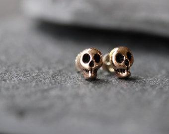 Rose Brass Skull Studs - Small Skull Earrings - Tiny Skull Earrings - Dainty Skull Studs -Small Skull Studs -Gothic Skull Earrings- Goth