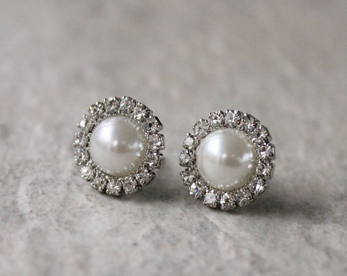 Small Pearl Earrings, Bridesmaid Earrings, Ivory Pearl Earrings, Wedding Jewelry, Earrings for Bridesmaids Gift, Silver Pearl Earring