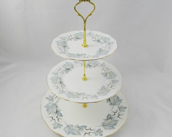 """Three Tier Cake Stand Made from Royal Albert """"Silver Maple"""" Plates, Vintage Bone China, Tiered Cake Stand"""