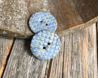 2 Round Blue Ceramic Textured Buttons   Handmade Light Blue Stoneware buttons   Rustic Pottery Buttons   Ceramic Accent   Bracelet Fasteners