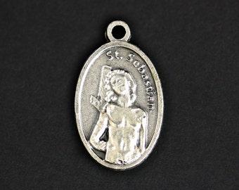 Saint Sebastian Medal. Catholic Pendant. St Sebastian Pendant. Saint Sebastian Charm. Catholic Saint Medal. 25mm x 16mm (Qty 1)
