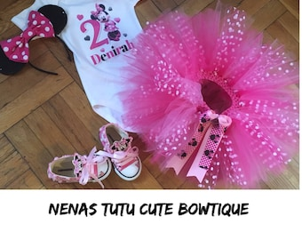 SALE, Price Cut, Minnie Mouse Tutu Set with custom matching converse sneakers, ONLY 100