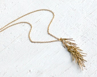 Gold Twig Necklace, Gold Rosemary, Rustic Gold Pendant, Botanical Necklace, Gold Twig Pendant, Herb Garden