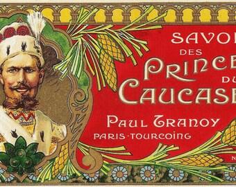 French Vintage Soap Label des Princes jpeg instant digital download