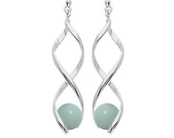 Silver plated swirl earrings - amazonite