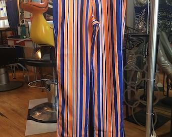Vintage Blue Orange White Striped Pants Detroit Tiger Pants