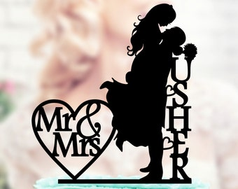 Wedding cake topper , Silhouette groom and bride , acrilic cake topper  , Custom Silhouette Cake Topper, Handmade Custom Wedding Cake Topper