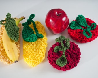 Fruit Cozies, 4 Pack - 2 Apples and 2 Bananas - US Shipping Included,