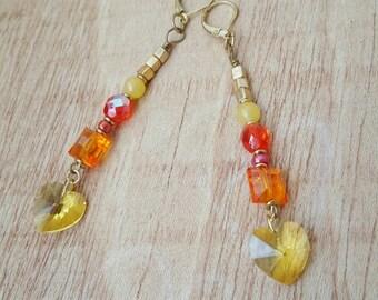 Heart Earrings - Long Earrings - Yellow Heart- Summer Colors - Colorful Earrings