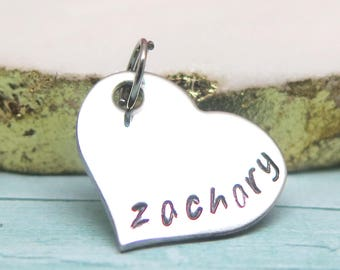 Personalized Heart Charm - Heart Pendant - Charms - Tiny Name Charm - Name Necklace - Charm Bracelet - Hand Stamped - Name Charm Bracelet