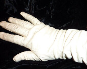 Vintage French Debutante Leather White Gloves