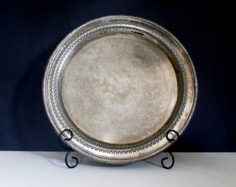 """Vintage SilverPlate Serving Tray 15"""" Round Platter Shabby Rustic Decor w/ Reticulated Pierced Rim & Etched Floral Scroll Design by Wm Rogers"""