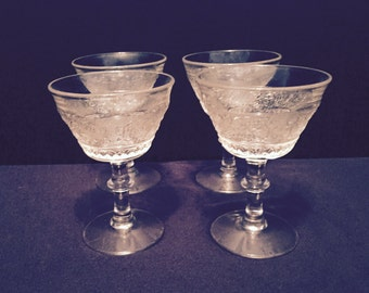 SALE - Vintage Cut Glass Stemmed Sherbert Glasses