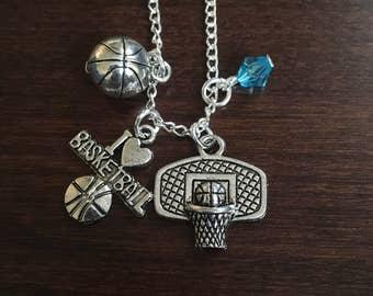 basketball necklace, basketball, silver basketball necklace, basketball pendant, basketball jewelry, basketball charm, silver necklace