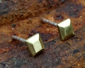Faceted rectangle stud earrings, brass and sterling silver.