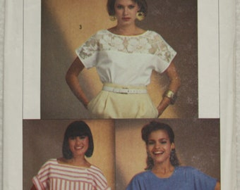 """Size O 12-14-16 Bust 34""""-38"""" Vintage Simplicity Sewing Pattern 6806 Easy to Sew Top  in two lengths with Yoke and Sleeve Variations"""