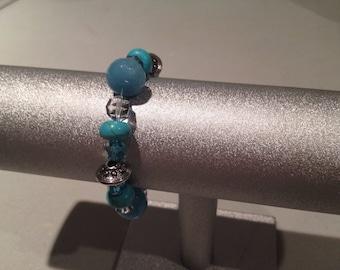Elegant Turquoise Silver Stretch Bracelet