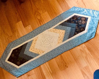 Quilted Table Runner Braided Blue Beige Handmade Table Topper