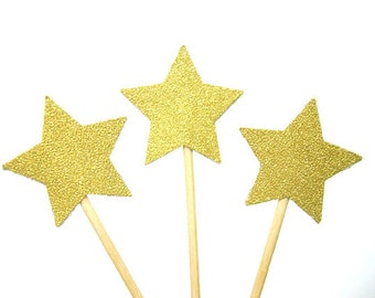 Set of 24Pcs - Twinkle Twinkle Little Star Gold Glitter Star Cupcake Toppers