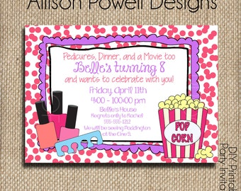 Nail Polish, Pedicures and Movie Girl Birthday Party Invitation - Print your own - Printed