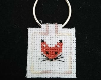 Cross Stitch Fox Keyring