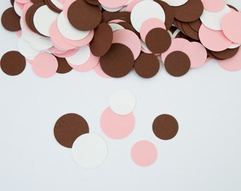 Pink Brown Circle Confetti, Lady Bug Party, Pink Brown Lady Bug