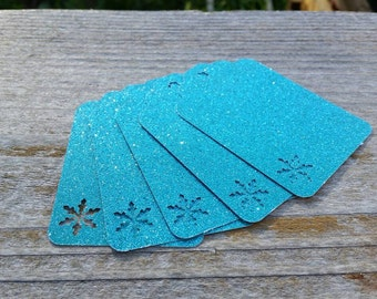 Glitter Snowflake gift Tags: 5, 12, or 100 Turquoise Glitter Cardstock Gift Tags w Snowflake cut outs 3 inch birthday party favor