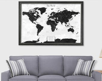 Framed Push Pin Map with Countries Travel Gifts for Husband Wedding Anniversary Gift Personalized Housewarming Gift World Map for Wedding