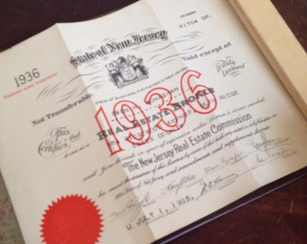 Antique 1936 New Jersey Real Estate License. Office Wall Decor. Paper Ephemera.
