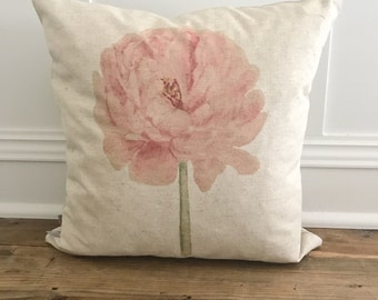 Watercolor Peony  Pillow Cover