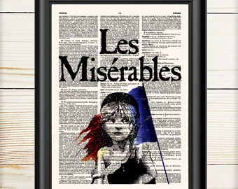 Les Miserables, Cosette with Flag Print, Victor Hugo, Book Cover Print, Book Lover, 028