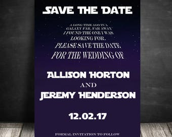 Star Wars Save the Dates, Star Wars Theme Weddings, Disney Wedding Announcement - PRINTABLE - Download