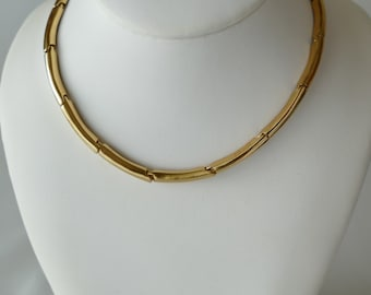 Orena vintage unsigned brass hinged torque necklace